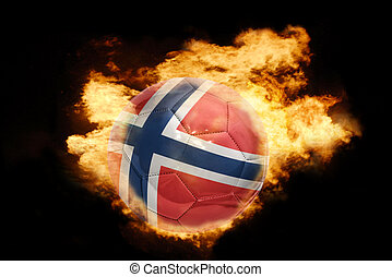 football ball with the flag of norway on fire - football...