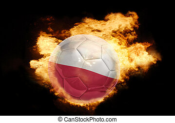 football ball with the flag of poland on fire - football...