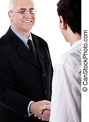 Business handshake and trust on isolated white background
