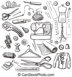 Hand drawn sewing icons set with a sewing machine, thread,...
