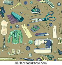 Hand drawn sewing pattern with a sewing machine, thread,...