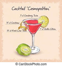 Red Cosmopolitan Cocktail served with a slice of a lime,...
