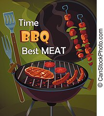 Vintage BBQ poster with tasty meat, sausages and grilled...