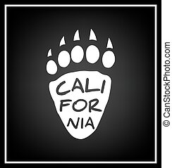 California Typographical Background - Californian bear paw...