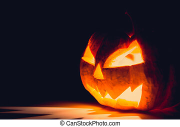Halloween scary face pumpkin ( Filtered image processed...