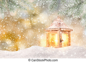 Christmas background with lantern and falling snow.
