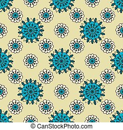 Natural turquoise flowers abstract seamless pattern background
