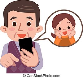 Contact The grandson smartphone - Vector illustration.