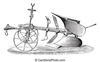 Plow double by R. Hornsby, vintage engraving. - Plow double...