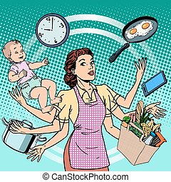 Housewife work time family success woman pop art retro...