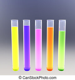 Fluorescent test tubes - Hi-res render of five test tubes...
