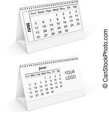 Calendar - Two desktop calendar realistic template with...