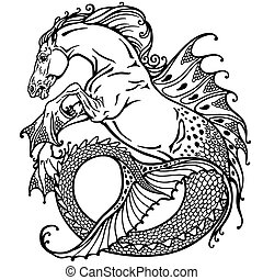 hippocampus black white - hippocampus or kelpie mythological...