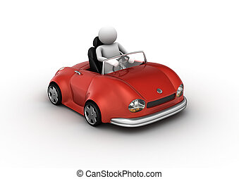 Red cabrio car driven by character 3d isolated on white...