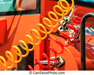 Air connections hoses of machinery