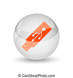 Usb flash drive icon Internet button on white background