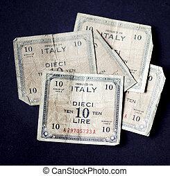 cinco, muy, viejo, italiano, diez, lire, billetes de banco,...