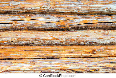 Wooden logs wall of rural house as background
