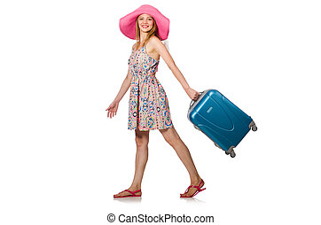 Woman in travelling concept on white