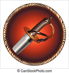 pirate sword - round icon for the game with a pirate sword...