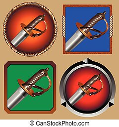 pirate sword - round and square icons for games with a...
