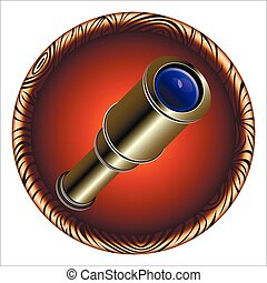 spyglass - round games icon with vintage pirate telescope