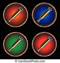 spyglass - round icons for the game from an old pirate...