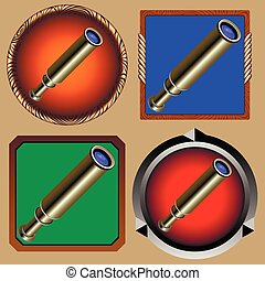 spyglass - round and square icons to the game from an old...