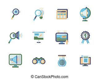 Business research flat color vector icons set