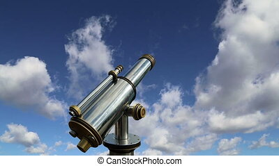 telescope viewer against the sky time lapse