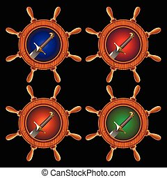 pirate sword - round icons in the form of a ship steering...