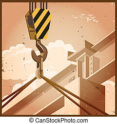 hi rise construction old poster - Illustration on the theme...