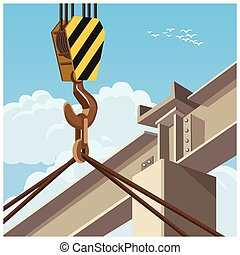 hi rise construction - Vector illustration on the theme of...