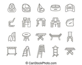 Furniture flat line icons vector collection