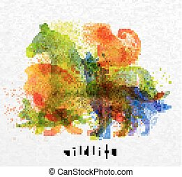 Overprint animals horse - Color animals ,horse, wolf,...