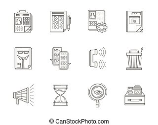 Recruiting thin line vector icons set - Headhunter thin line...