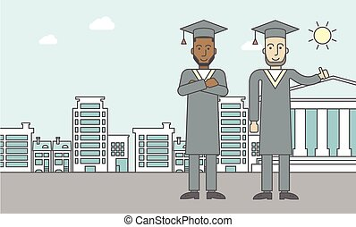 Graduates - Graduates in cloak and hat on a city background...