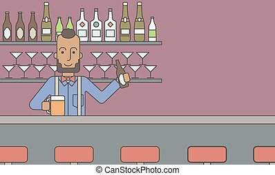 Barman in the pub. - An african-american hipster man with a...