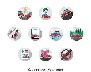 Colored auto insurance vector icons - Buying a new car...