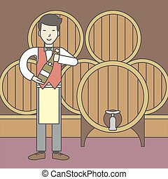 Waiter in wine cellar - An asian waiter with a bottle of...