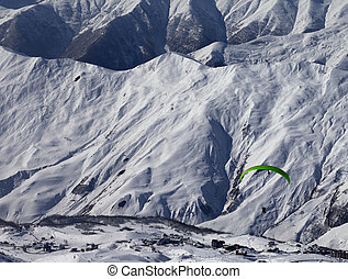 Speed riding in snowy winter mountains Caucasus Mountains...