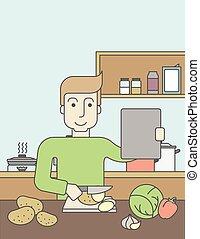 Man cooking food.