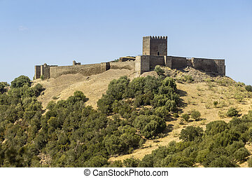 Countryside landscape scenic view of medieval Noudar castle,...