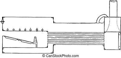 Boiler old gunboats, vintage engraving. - Boiler old...