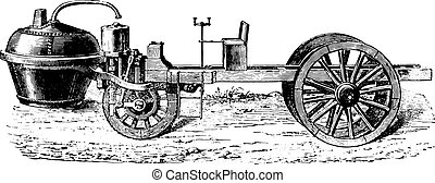Cugnot steam car, vintage engraving.