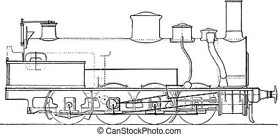 Machine four-axle goods coupled Northern Railway, vintage engraving.
