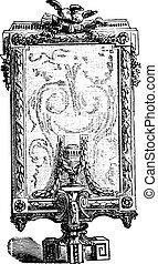 Screen, vintage engraving.