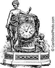 Pendulum Louis-six, vintage engraving.