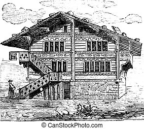 House, Swiss Chalet, vintage engraving. - House, Swiss...