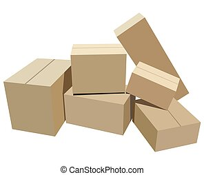 Cardboard box - Pile of cardboard boxes on a white...